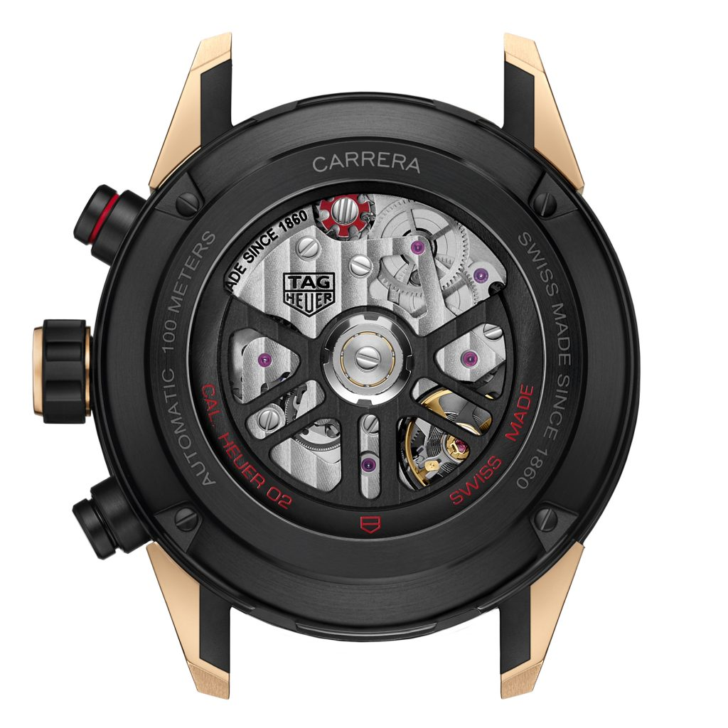 The case back of the TAG Heuer Carrera Heuer 02 watch.