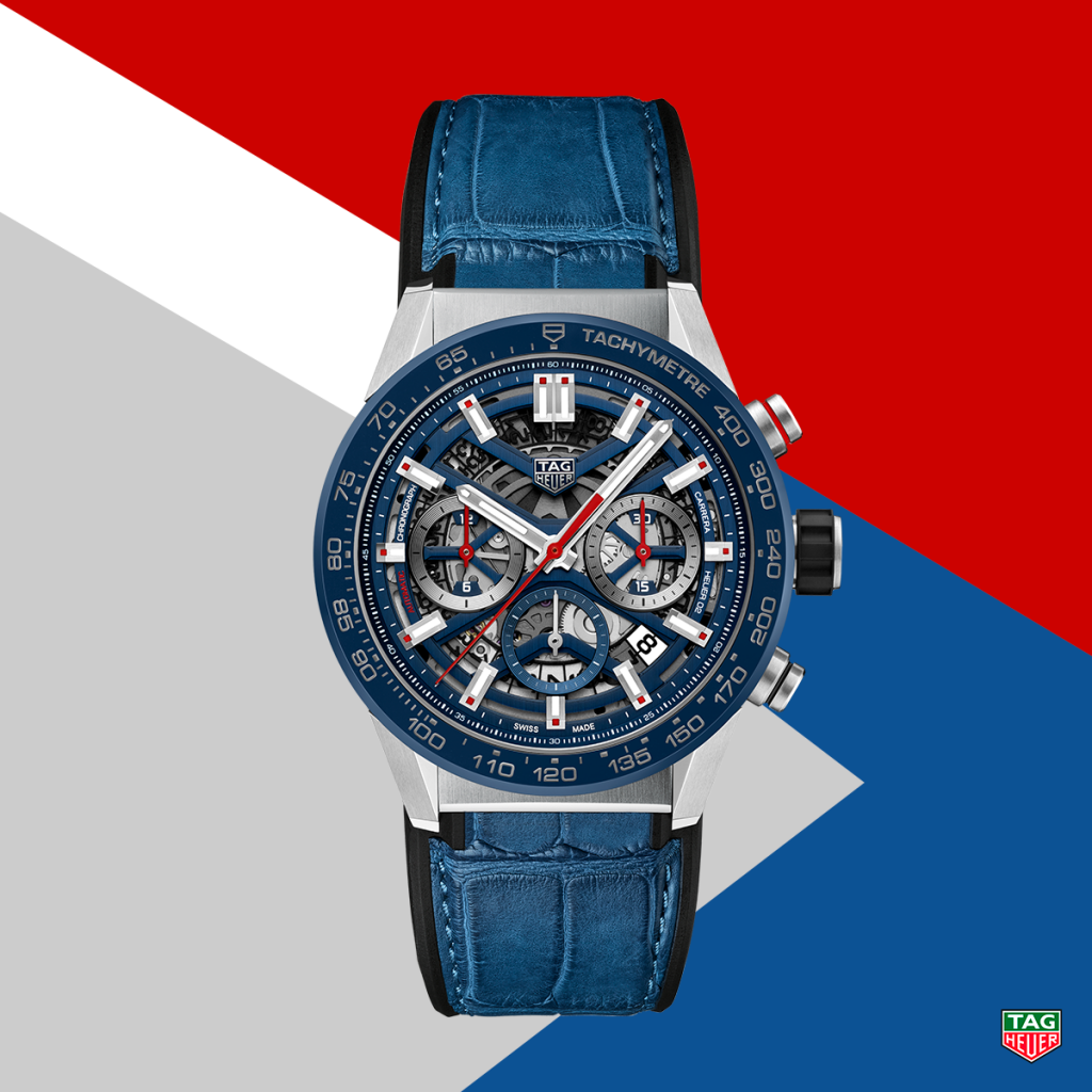 The blue version of the new TAG Heuer Carrera Heuer 02 with Heuer 02 Manufacture Movement