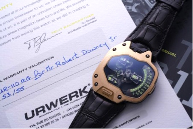 Urwerk UR-110 RG sold at auction for $150,000. It was the watch worn by Robert Downey Jr. in Spider-Man Homecoming last year.