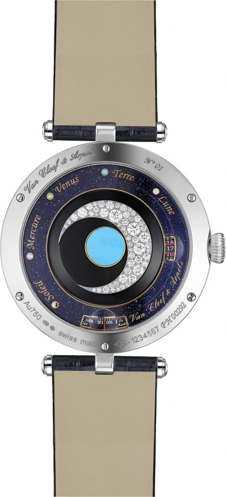 The Van Cleef & Arpels Lady Arpels Planetarium watch has a rotor with diamond crescent moon and turquoise Earth.