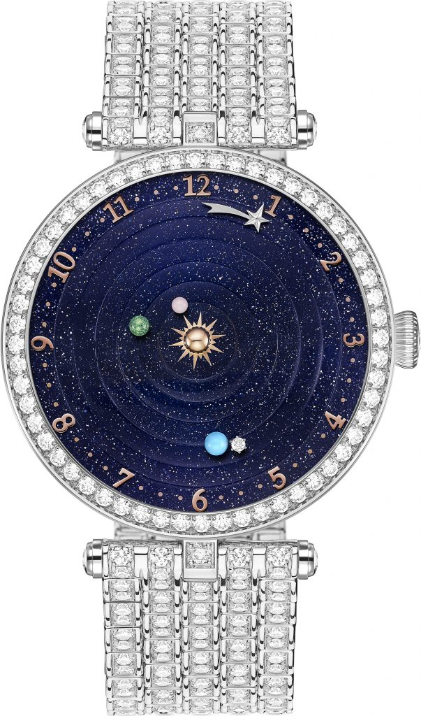 The thee planets on the Van Cleef & Arpels Lady Arpels Planetarium watch rotate in real planet time.