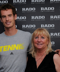 Andy Murray and ATimelyPerspective's Roberta Naas at the Sony Open in Miami last fall.