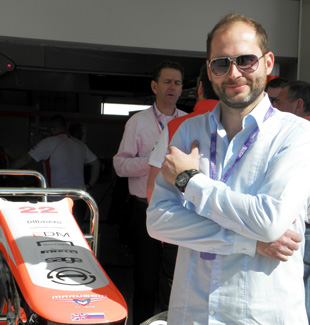Serge Michel, owner of Armin Strom, at F1 Team Marussia paddock in Austin.