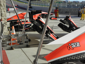 Inside the paddocks with F1 Team Marussia at Circuit of the America's in Austin.