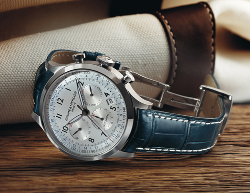 The Capeland Chronograph houses a La Joux Perret mechanical caliber.