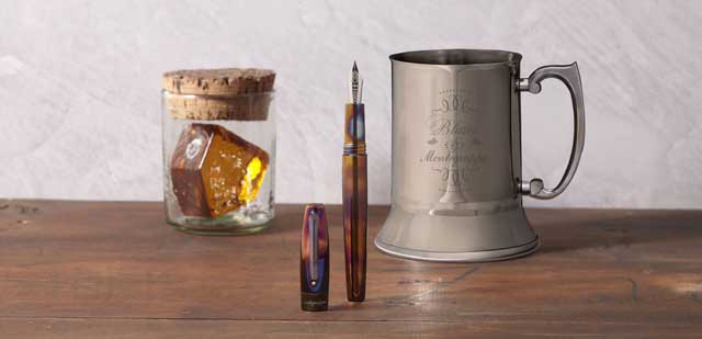 Montegrappa Fortuna Blue Blazer writing instrument is sold with a steel tankard used for making the fiery cocktail.
