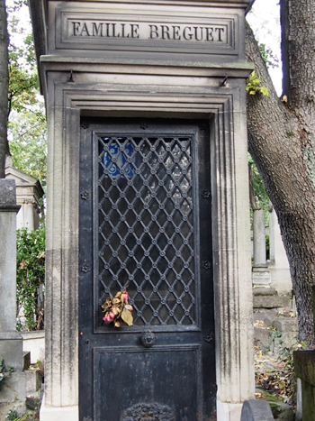 Inventor of the tourbillon escapement, watchmaker Abraham-Louis Breguet is buried with family members in Pere Lachaise.
