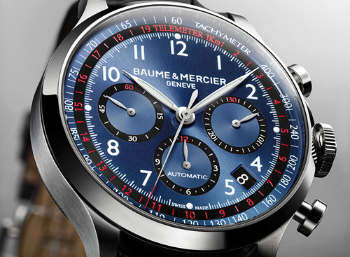 The newest blue-dialed Capeland Chronograph from Baume & Mercier will have everyone watching your wrist.