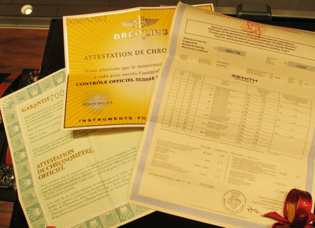 chronometer certificates