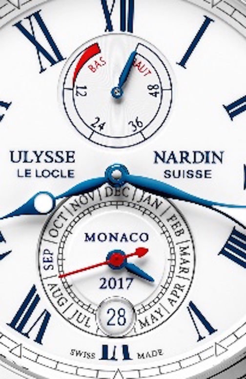 The Ulysse Nardin Marine Chronometer Annual Calendar Monaco watch for the Monaco Yacht Show 2017.
