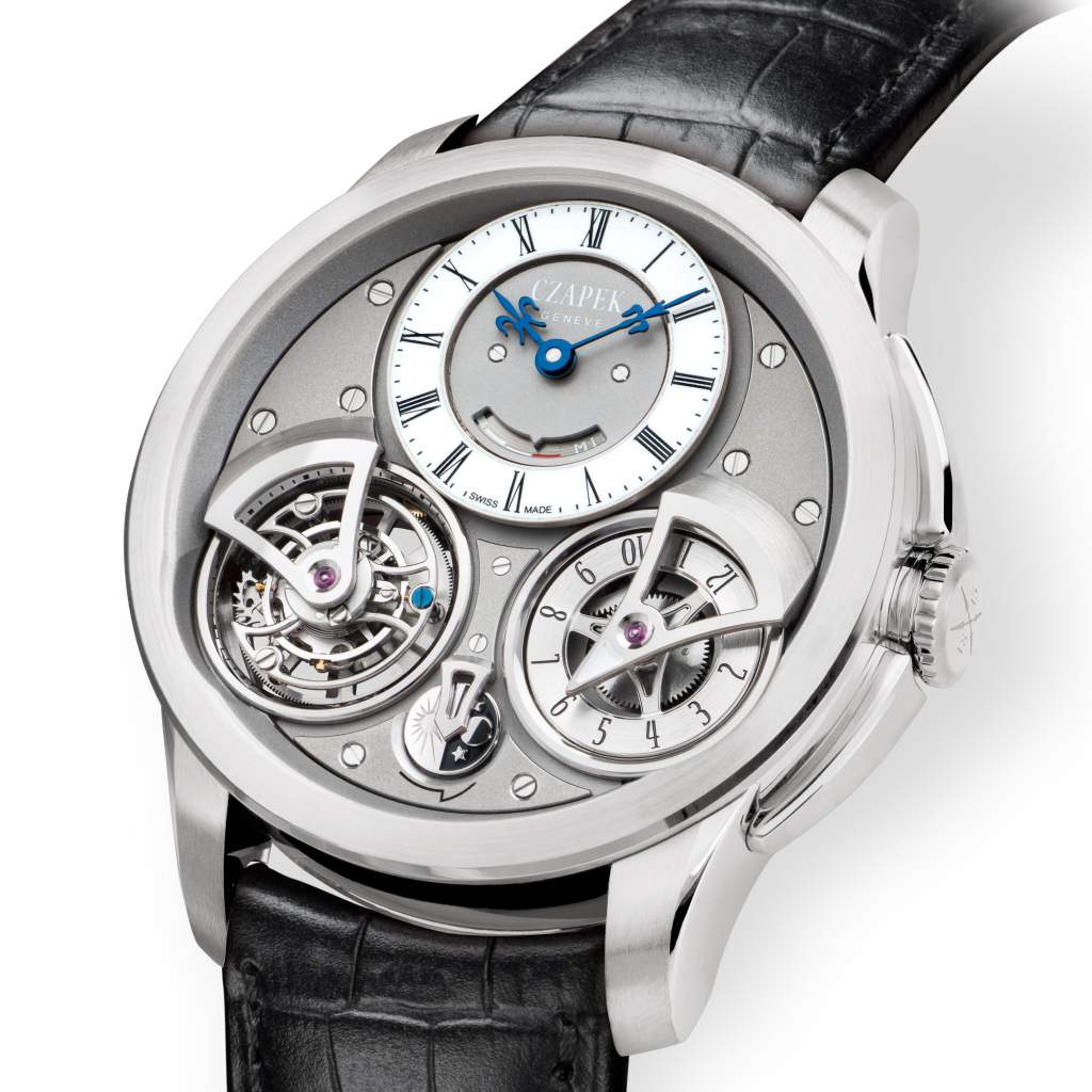 "Chapek Geneve's Place Vendome Tourbillon Suspended ""Ice et ailleurs"" watch in plaitnum."