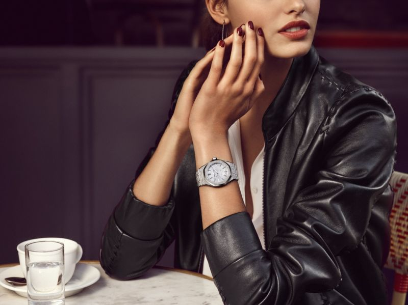 Audemars Piguet unveils new collection of Frosted Gold Royal Oak watches for women.
