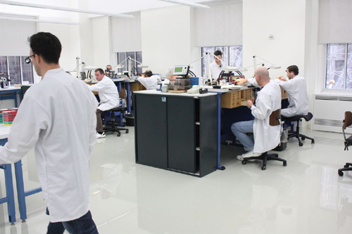 Patek Philippe's state-of-the-art service department easily accommodates the brand's 18 watchmakers with room for a dozen more.