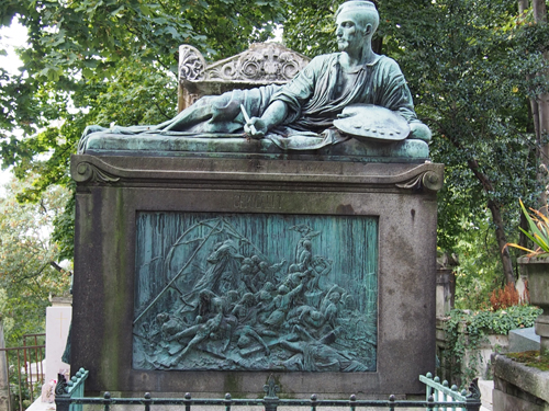 Painter Gericault has an elaborate statue above his resting place in honor of his contribution to romantic art.
