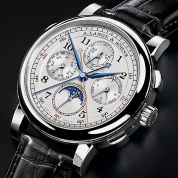 Grand Complication prize: A. Lange & Sohne 1815 Rattrapante Perpetual Calendar. The manual-wind watch offers split-second chronograph, perpetual calendar, moonphase, power reserve, date, day, month, hours, minutes, and seconds. Price: 209'000 CHF