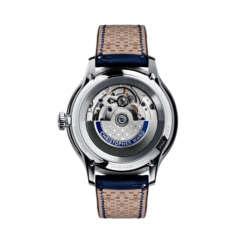 The Christopher Ward C1 Grand Malvern Jump Hour features a sapphire caseback for viewing the movement.
