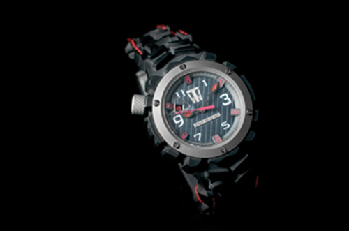 Tire'd Watch Company's Rapide Black watch made with recycled tires and titanium
