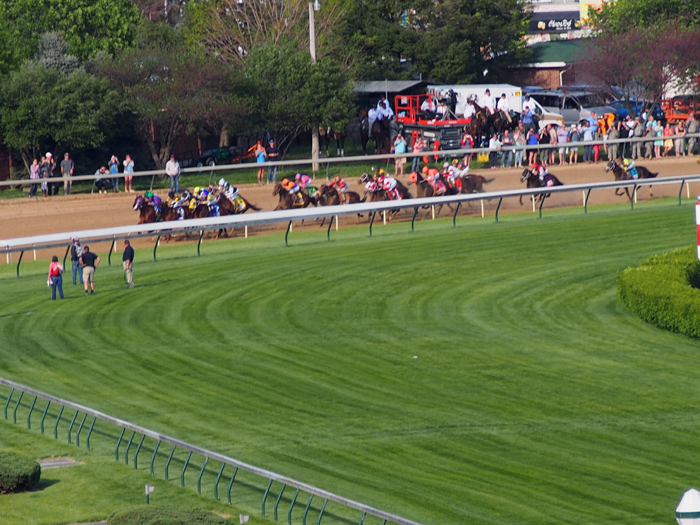 Coming around the corner toward the home stretch at the Kentucky Derby. (Photo (C), Roberta Naas)