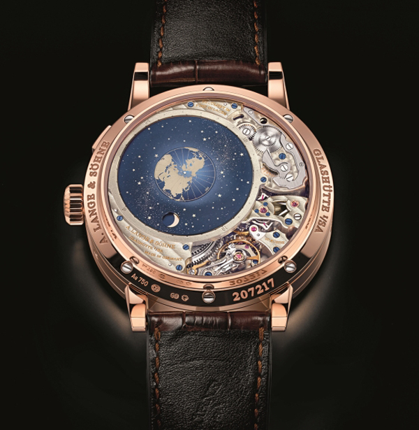 The back of the A. Lange & Sohne Perpetual Calendar Terra Luna offers an orbital moonphase display accurate to within a day for more than 1,000 years.