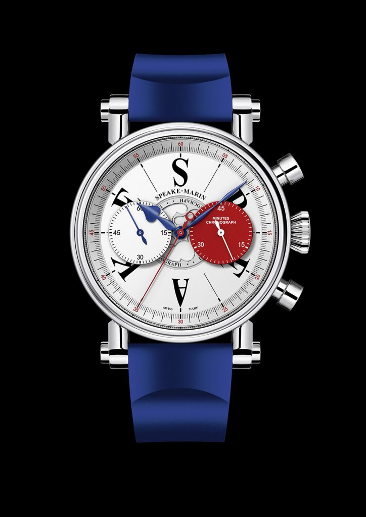 The raised chronograph sub-dials on the London Chronograph give 3D depth to the dial, which Speake-Marin offers in British red, white and blue colors.