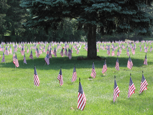 Flags in honor of those who served, (at George Washington Memorial Cemetary, NJ)