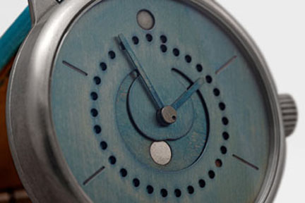 Each Ochs und Junior watch is customizeable. This one shows a rich blue patina and a platinum moon.