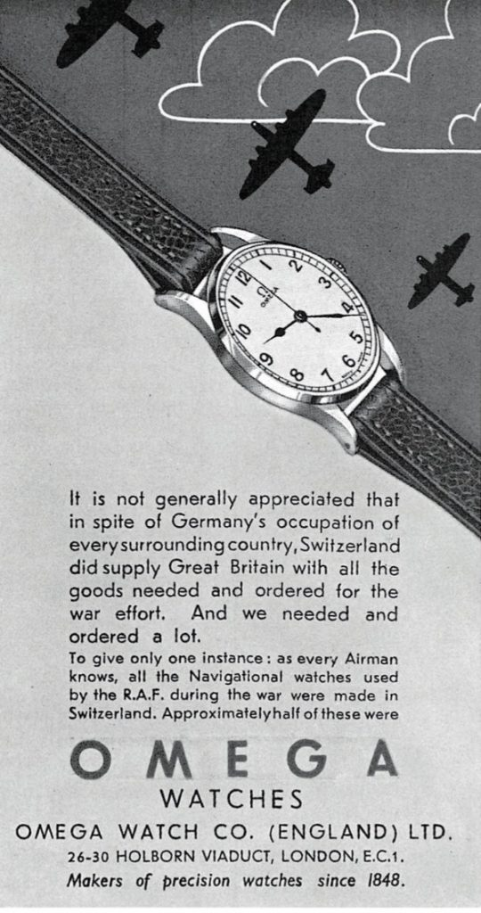 During World War II, 50 percent of Switzerland's watch exports to Great Britain were from Omega.