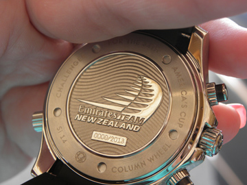 The caseback of the ETNZ watch features the Team's logo.