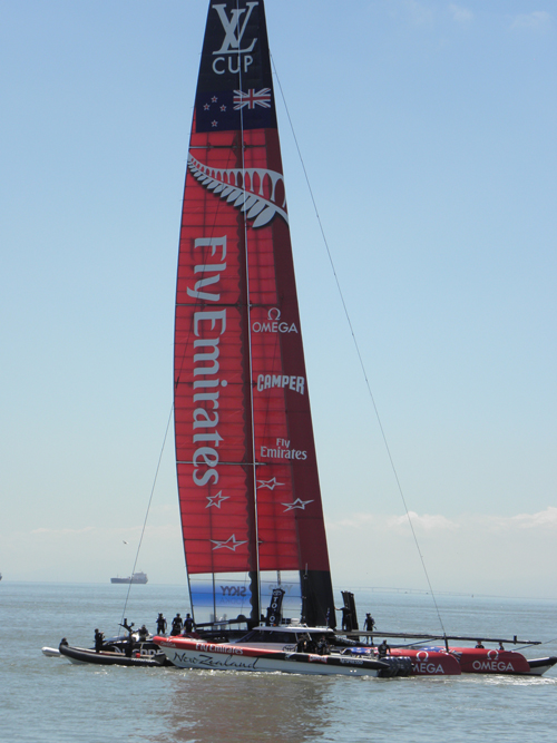 Emirates Team New Zealand in the San Francisco Bay. (photo credit: R. Naas)