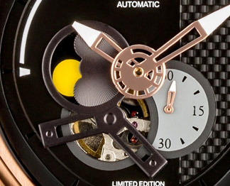 The Passages dial is multi-layered and textured and includes carbon fiber.
