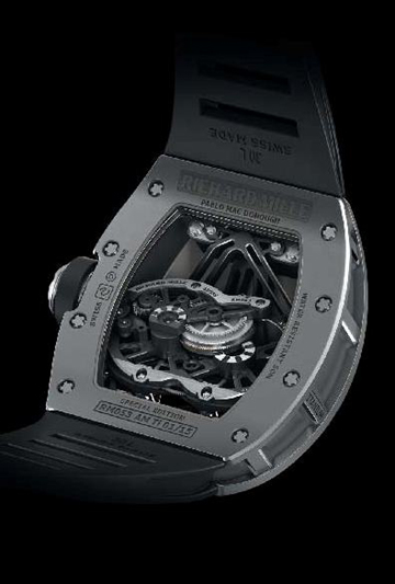 The elaborate movement is crafted primarily of titanium