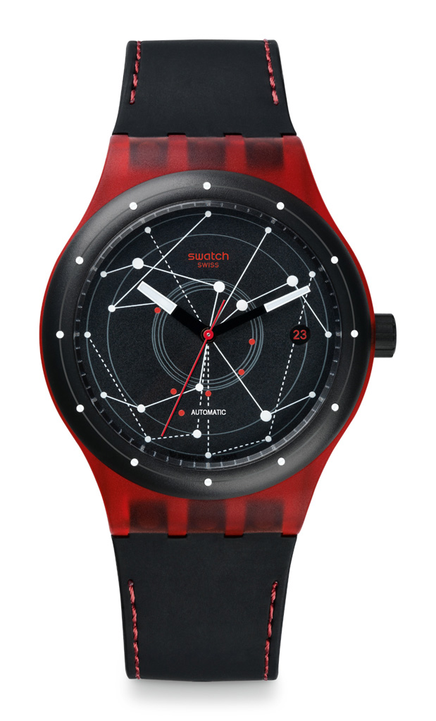 Sistem51 Red plays off of six of the movement's 19 rubies.