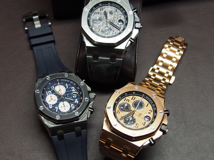 Three of the six Royal Oak Offshore 42mm Chronographs unveiled at SIHH2014.