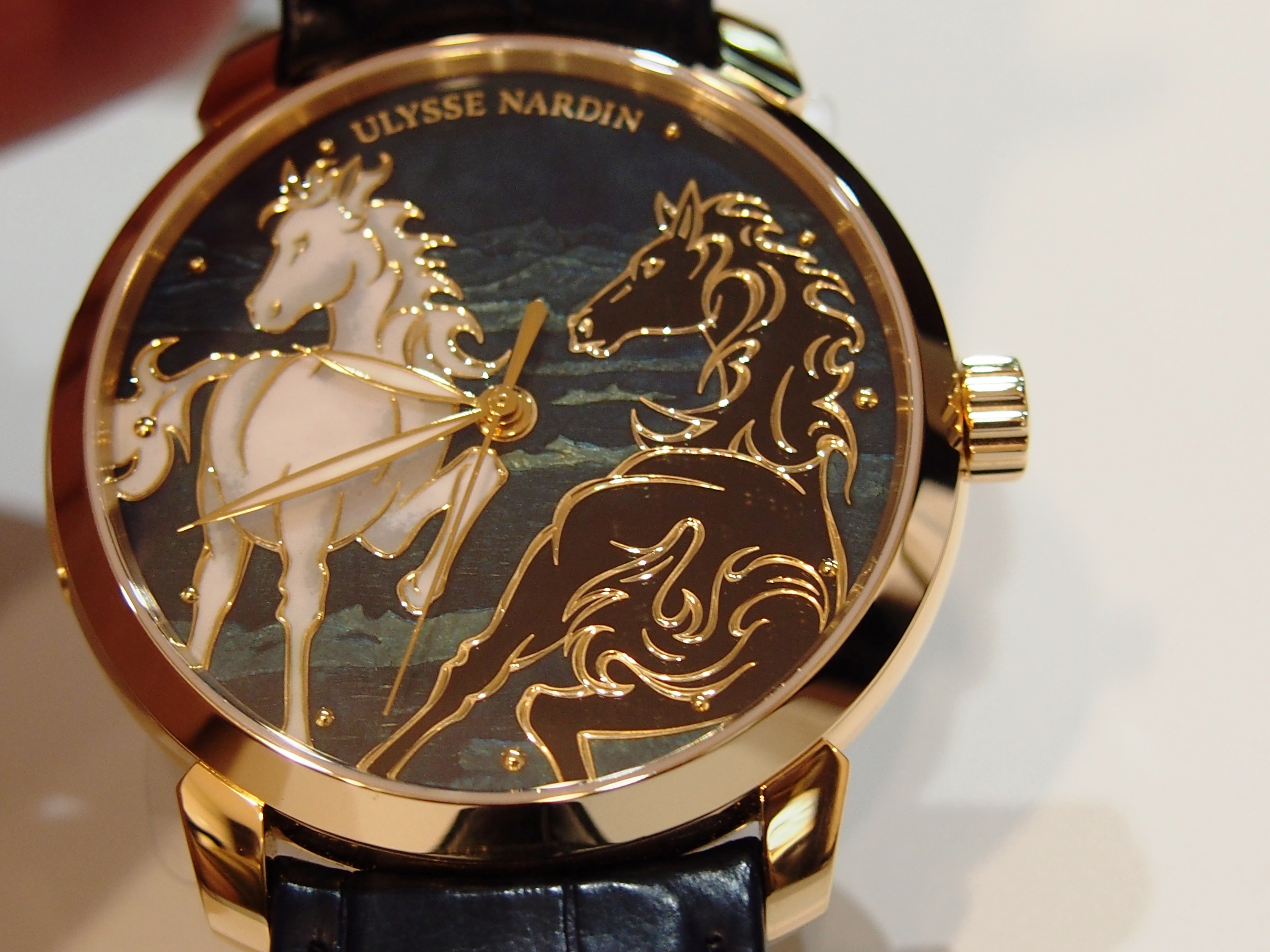The Ulysse Nardin Classico Horse features an individually hand-enameled dial.