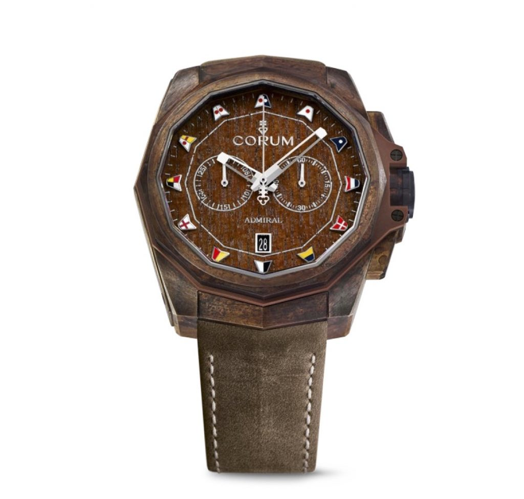 The 45mm case of thisCorum Admirals Cup AC-One Chronograph is crafted of bronze.