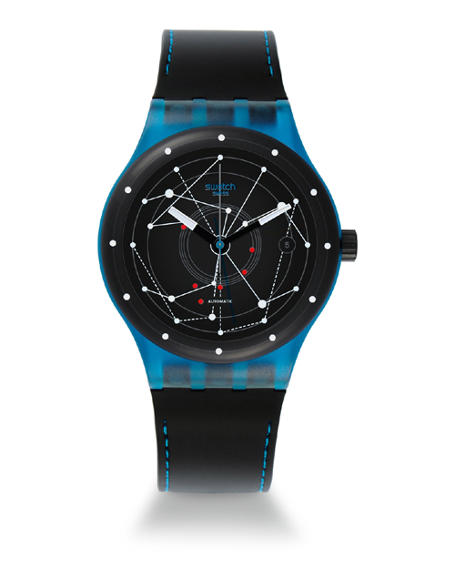 The Swatch Sistem51 Blue. The mechanical watch movement has 17 patents pending.