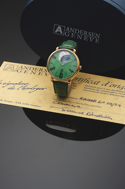 Svend Andersen Kamar No. 8 Moon Phase with Jade dial and large moon phase display. Expected to sell for $6,000 to $10,000.