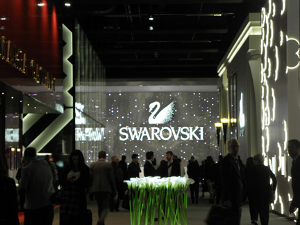 A clear winner for new pavillion: Swarovski, which built their design around the  cone-shaped center  opening of the new fairground layout.