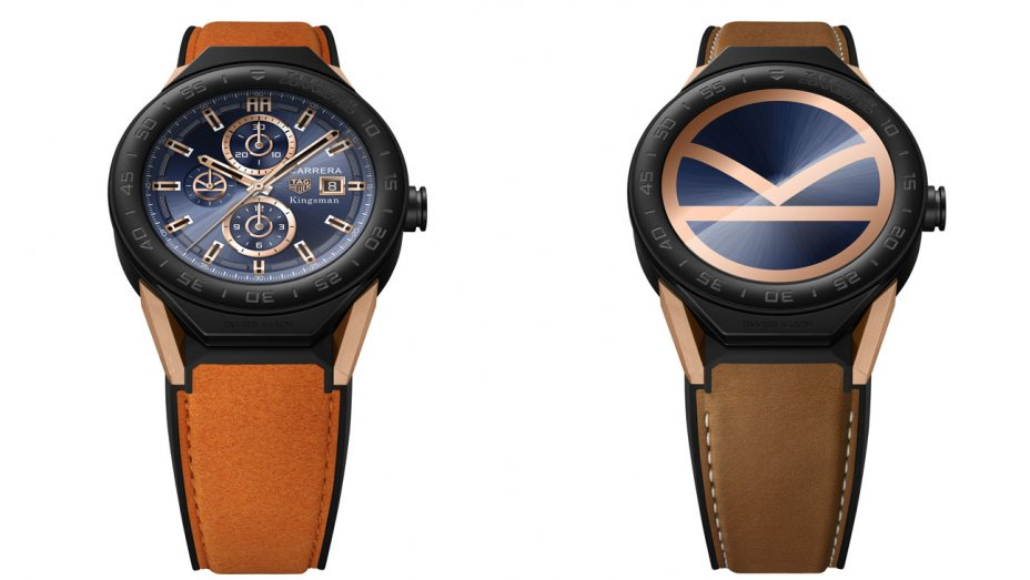 "TAG Heuer Connected ""Kingsman"" watch, features a K-shaped logo as one of the dial options."