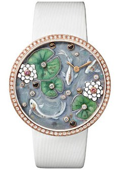 Rotonde de Cartier mixed media enamel and gemstone carved watch (with brooch, not shown)