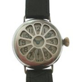 The first wristwatches for use in war featured protective covers.