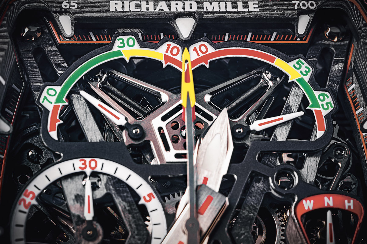 A close-up look at the dial of the Richard Mille RM 11-03 McLaren Flyback Chronograph. Photo: @Didier Gourdon.