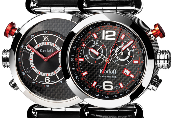The OO2 version features black carbon fiber dial and red accents.
