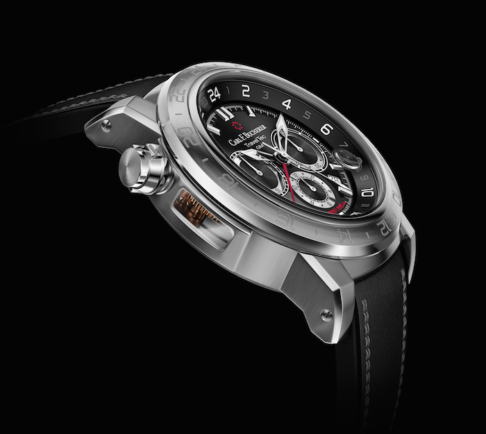 The side-mounted sapphire glass window allows you to look into the automatic calibre CFB 1901.1