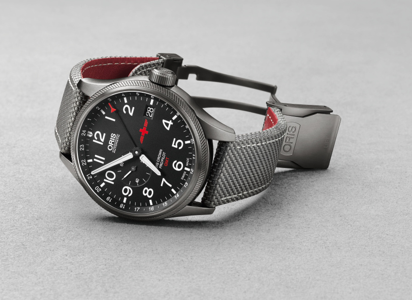 Oris GMT Rega Limited Edition Big Crown ProPilot GMT watch houses an automatic movement and features the Rega logo at 3:00.