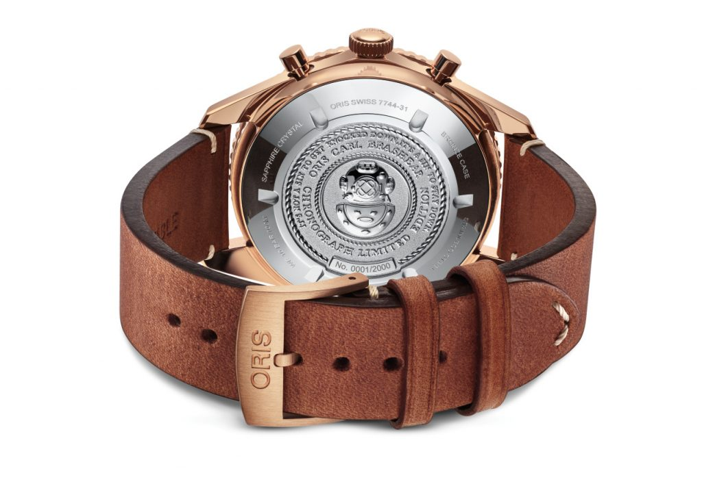 Oris Carl Brashear Chronograph Limited Edition watch caseback.