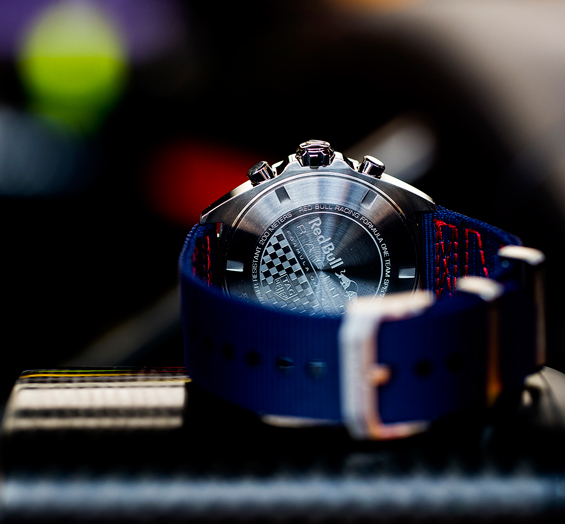 The caseback of the watch is engraved with the Red Bull logo