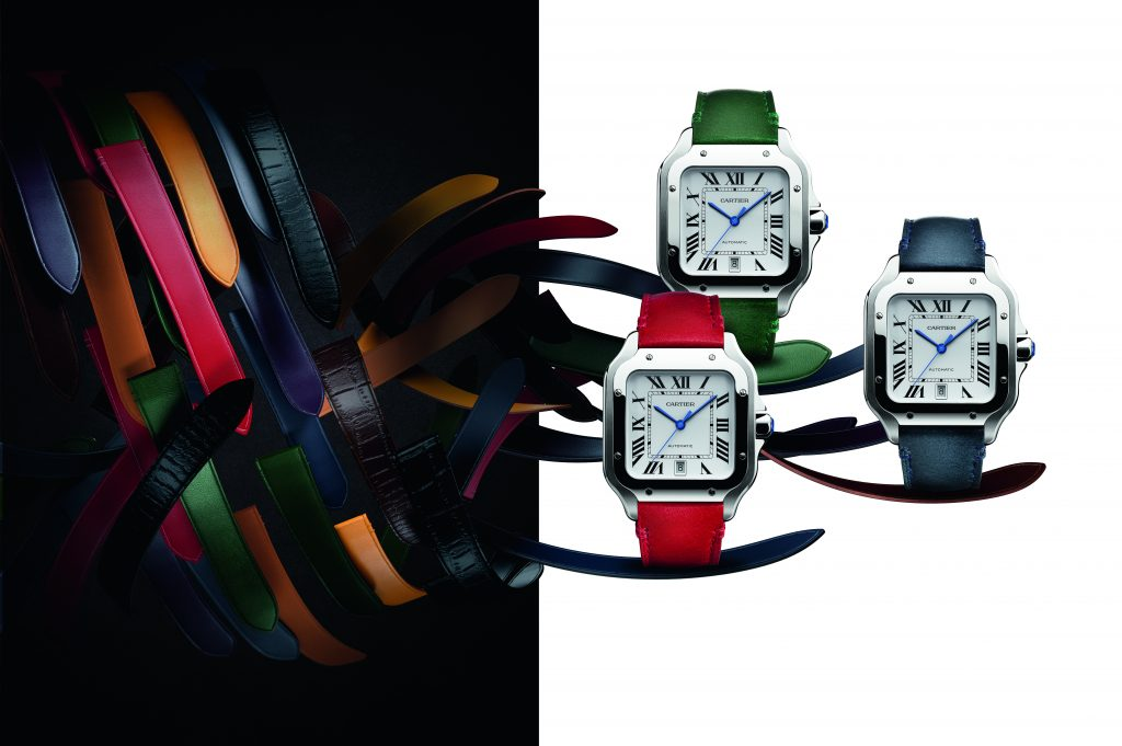 Santos D' Cartier with new patented QuickSwitch interchangeable strap system.