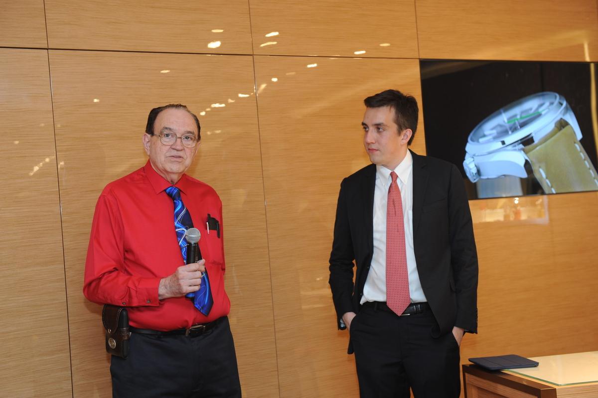 James Ragan, former NASA Engineer responsible for the flight hardware testing,with Eric Wind,VP of Christie's Watch Department (Photo: Diane Bondereff)