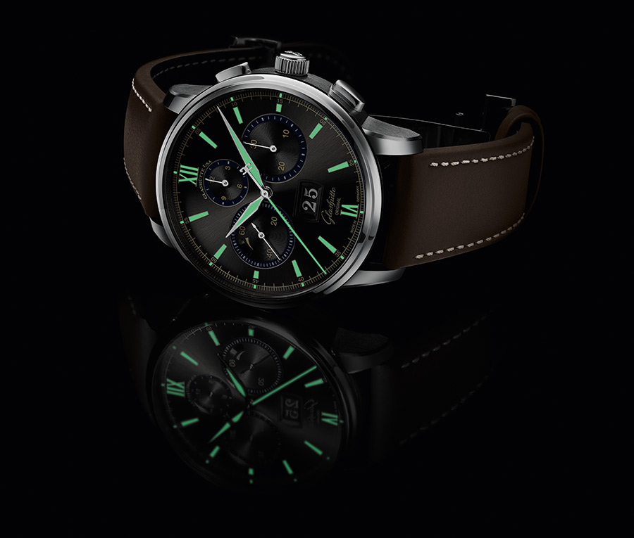 The Glashütte Original Senator Chronograph Capital Edition watches feature Super-LumiNova hands and marker that glow green in the dark.